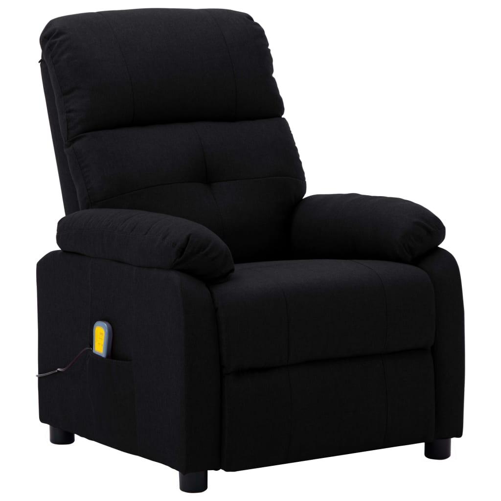 vidaXL Masažna fotelja od tkanine crna