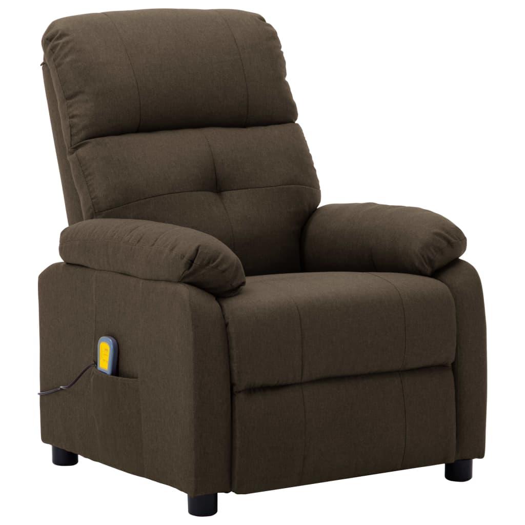 vidaXL Masažna fotelja od tkanine smeđa