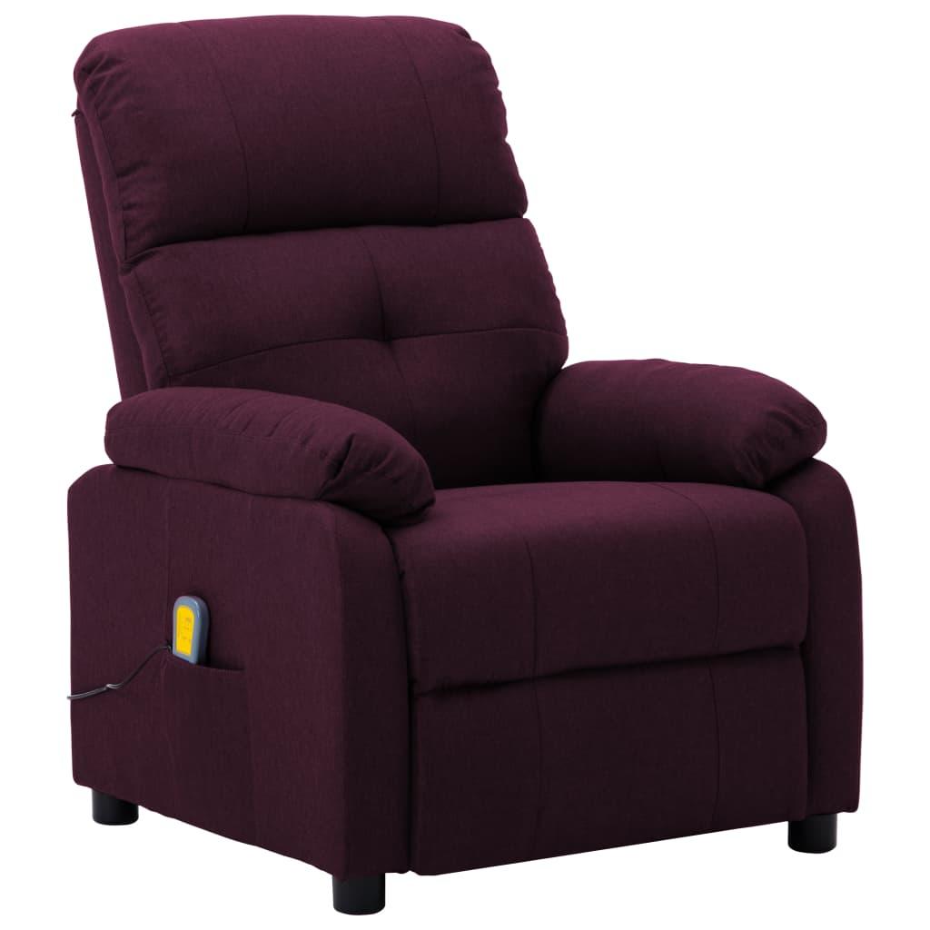 vidaXL Fotoliu rabatabil de masaj, violet, material textil imagine vidaxl.ro