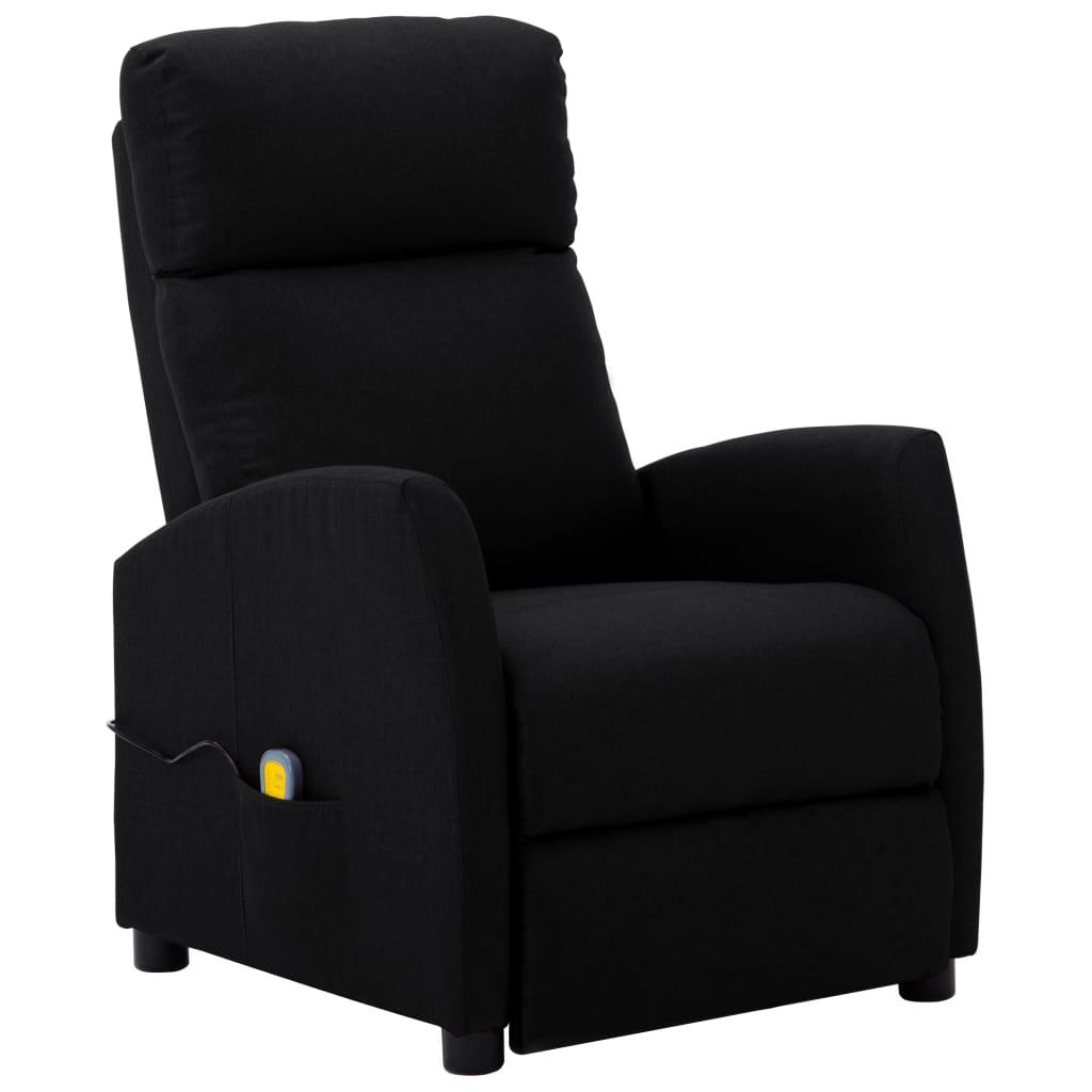 vidaXL Fotoliu de masaj rabatabil, negru, material textil vidaxl.ro