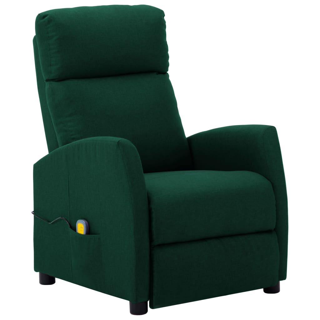 vidaXL Fotoliu de masaj rabatabil, verde închis, material textil vidaxl.ro