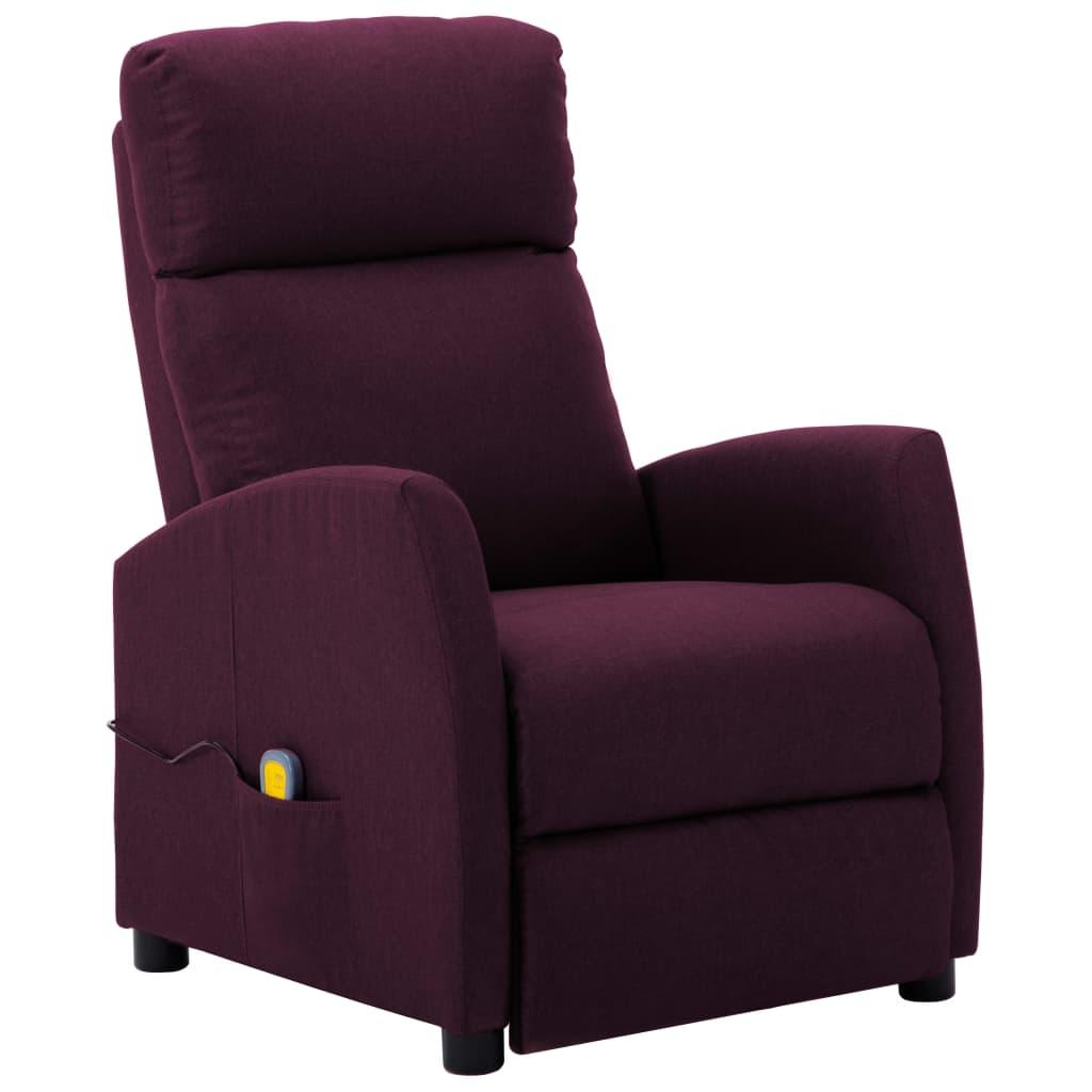 vidaXL Fotoliu rabatabil de masaj, violet, material textil poza vidaxl.ro