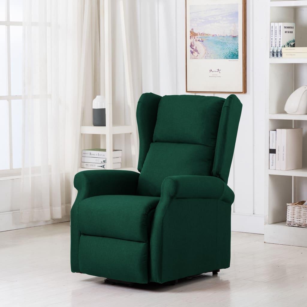 vidaXL Fotoliu de masaj cu ridicare pe verticală, verde închis, textil poza vidaxl.ro