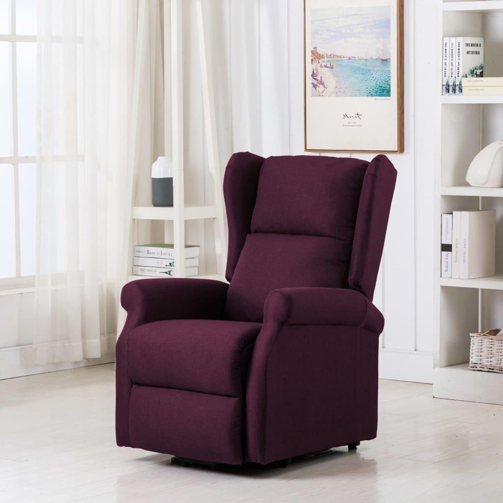vidaXL Fotoliu de masaj cu ridicare pe verticală, violet, textil poza vidaxl.ro