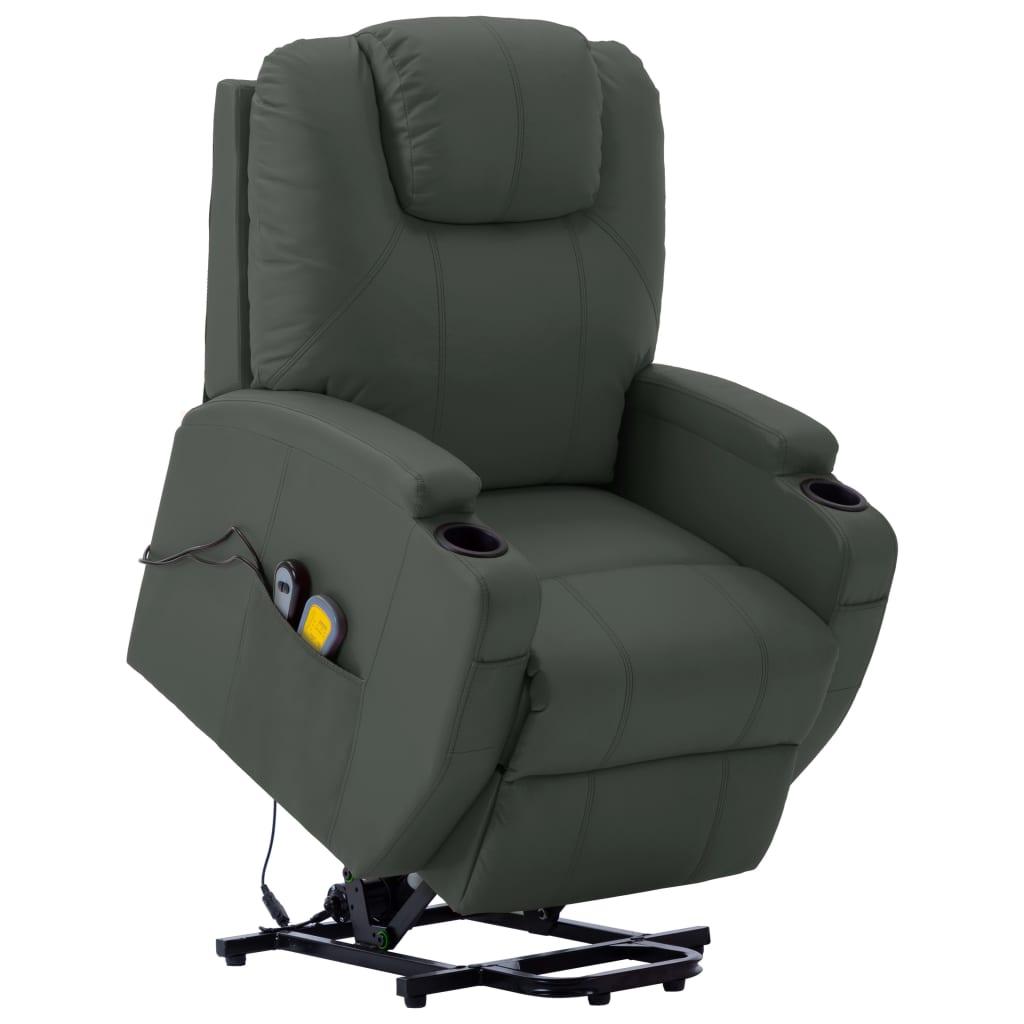 vidaXL Fotel masujący, ułatwiający wstawanie, antracyt, sztuczna skóra