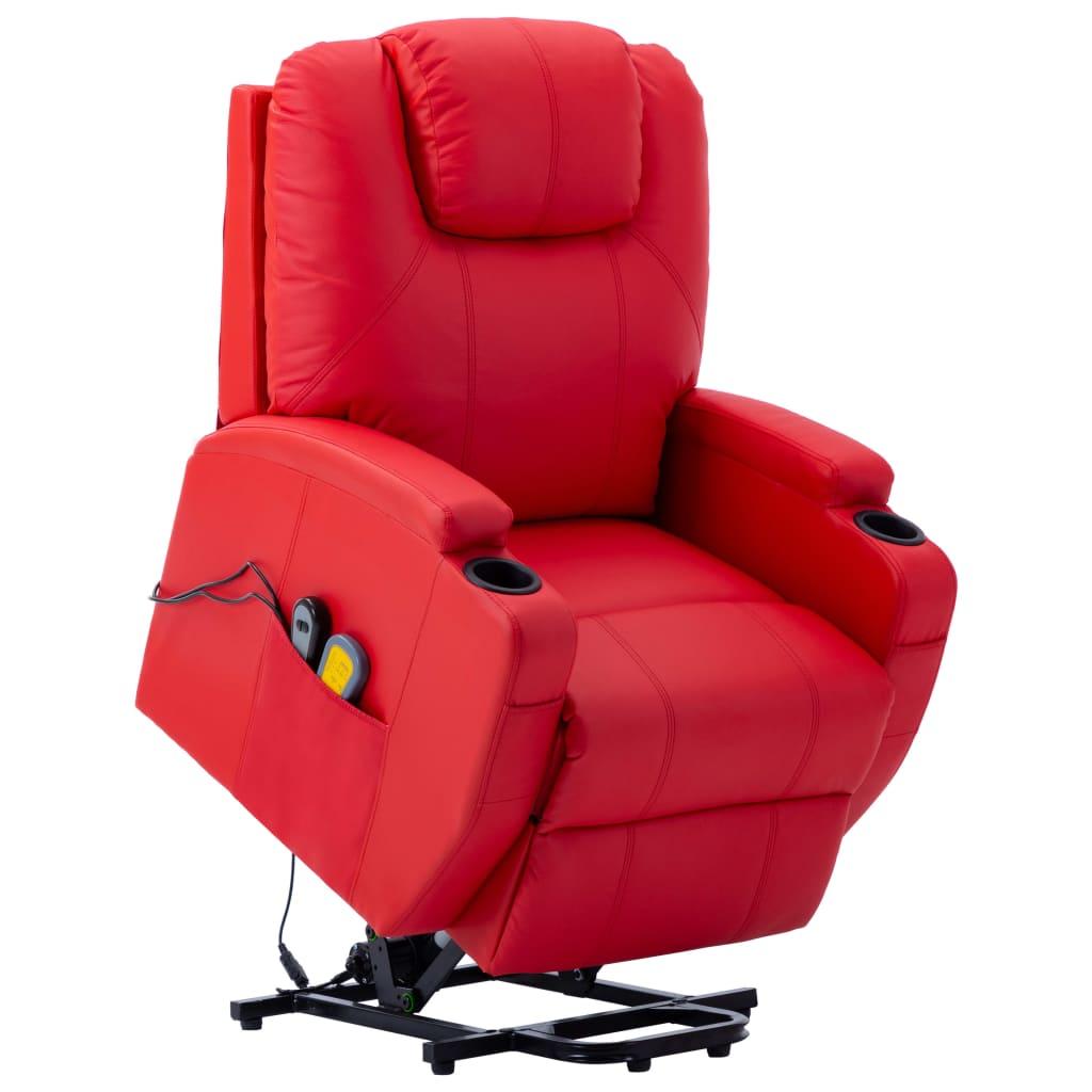 vidaXL Fotoliu de masaj cu ridicare, roșu, piele ecologică imagine vidaxl.ro