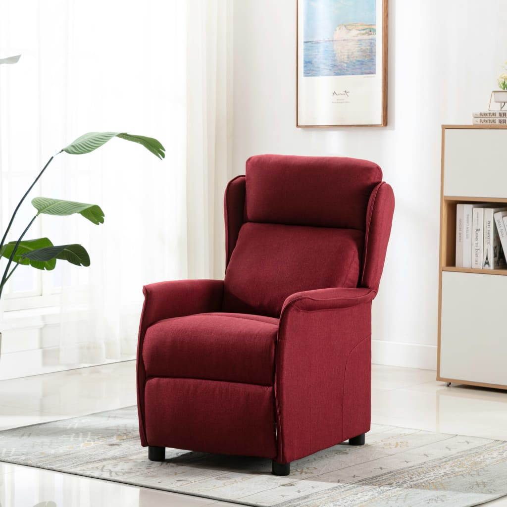 vidaXL Fotoliu rabatabil, roșu vin, material textil imagine vidaxl.ro