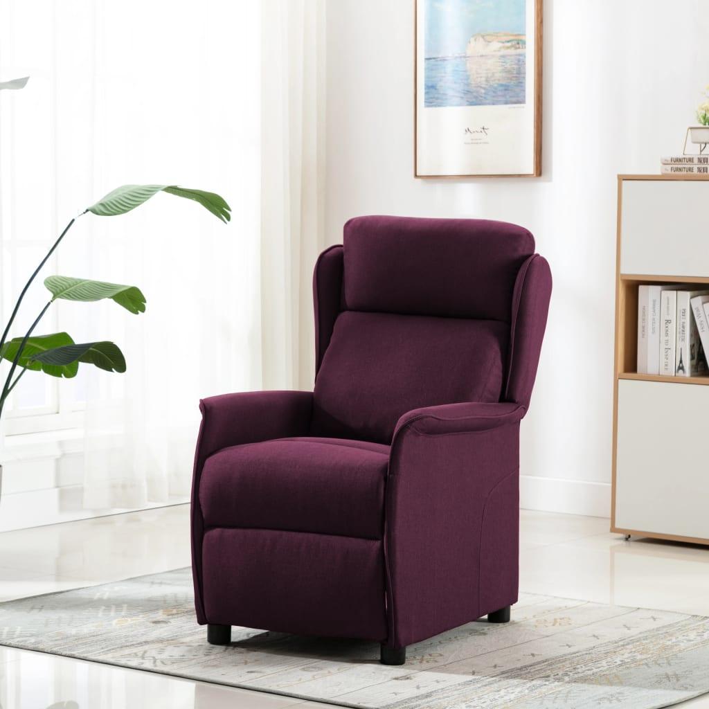 vidaXL Fotoliu rabatabil, violet, material textil