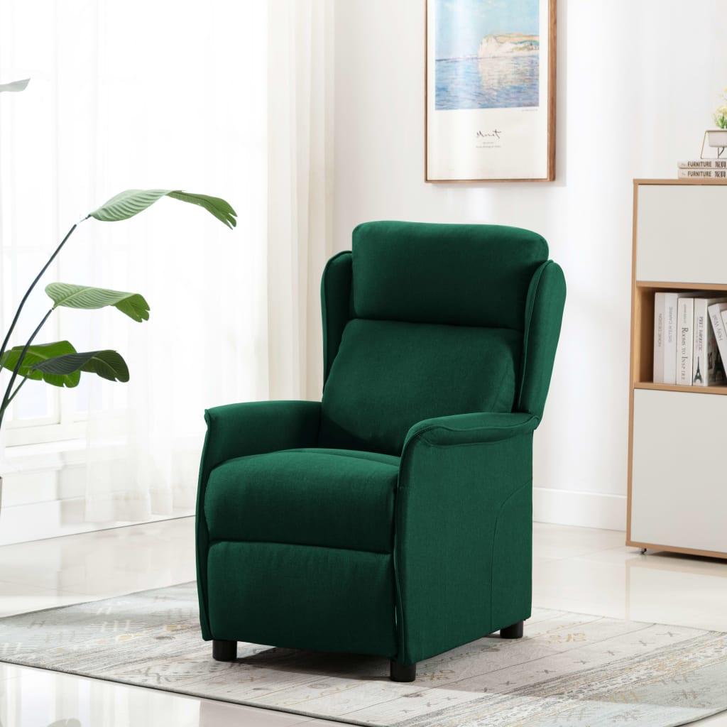 Masážní polohovací křeslo tmavě zelené textil
