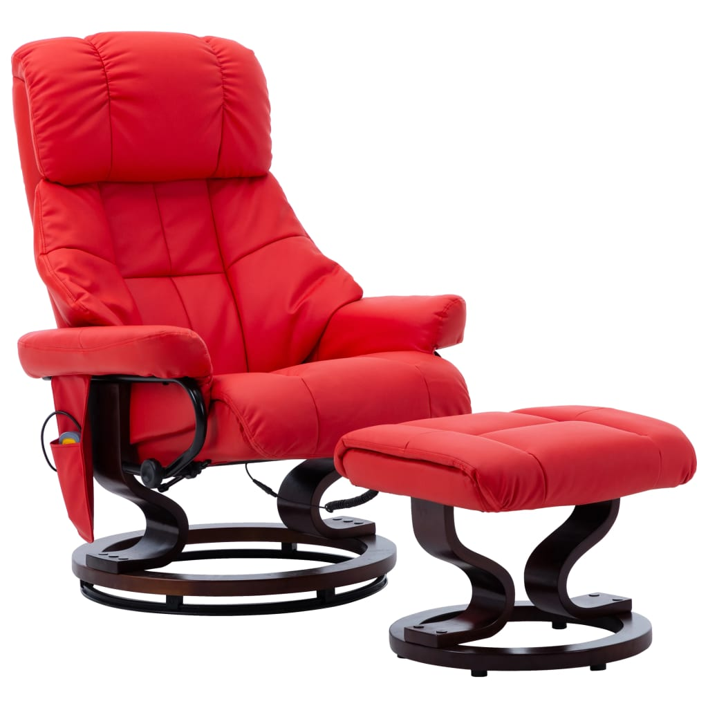 vidaXL Fotoliu de masaj rabatabil, roșu, piele ecologică/lemn curbat poza vidaxl.ro