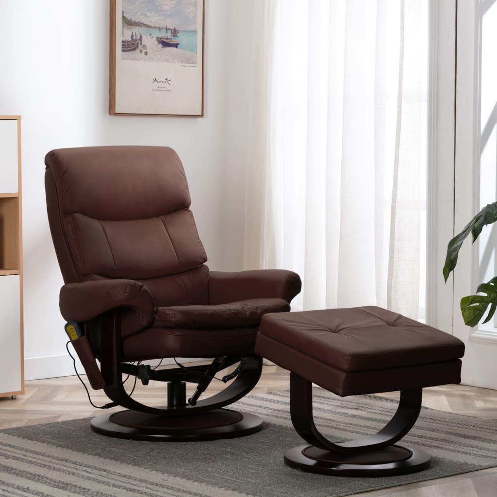 vidaXL Rozkładany fotel masujący, brązowy, ekoskóra i gięte drewno