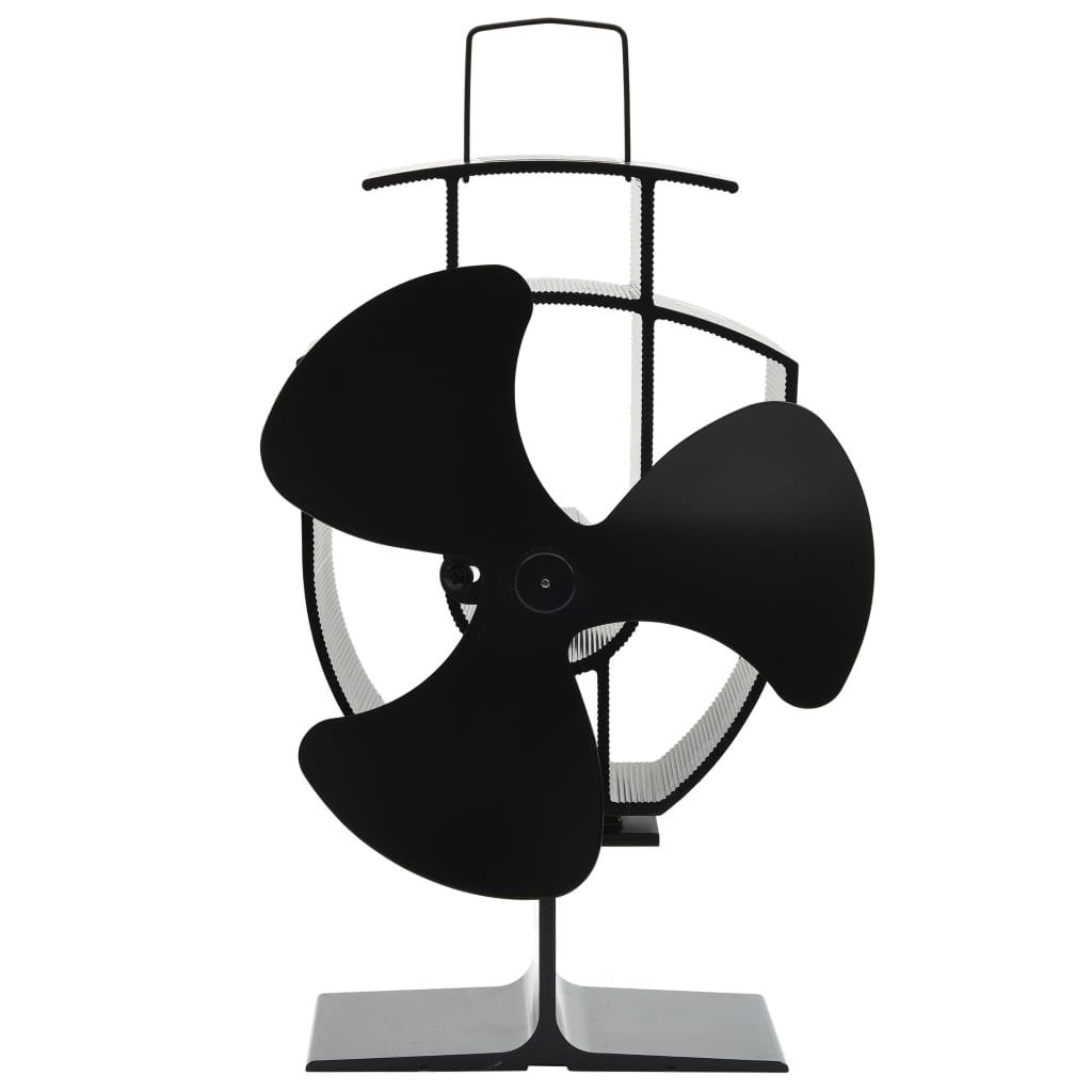 vidaXL Ventilator de sobă cu alimentare termică, 3 palete, negru imagine vidaxl.ro