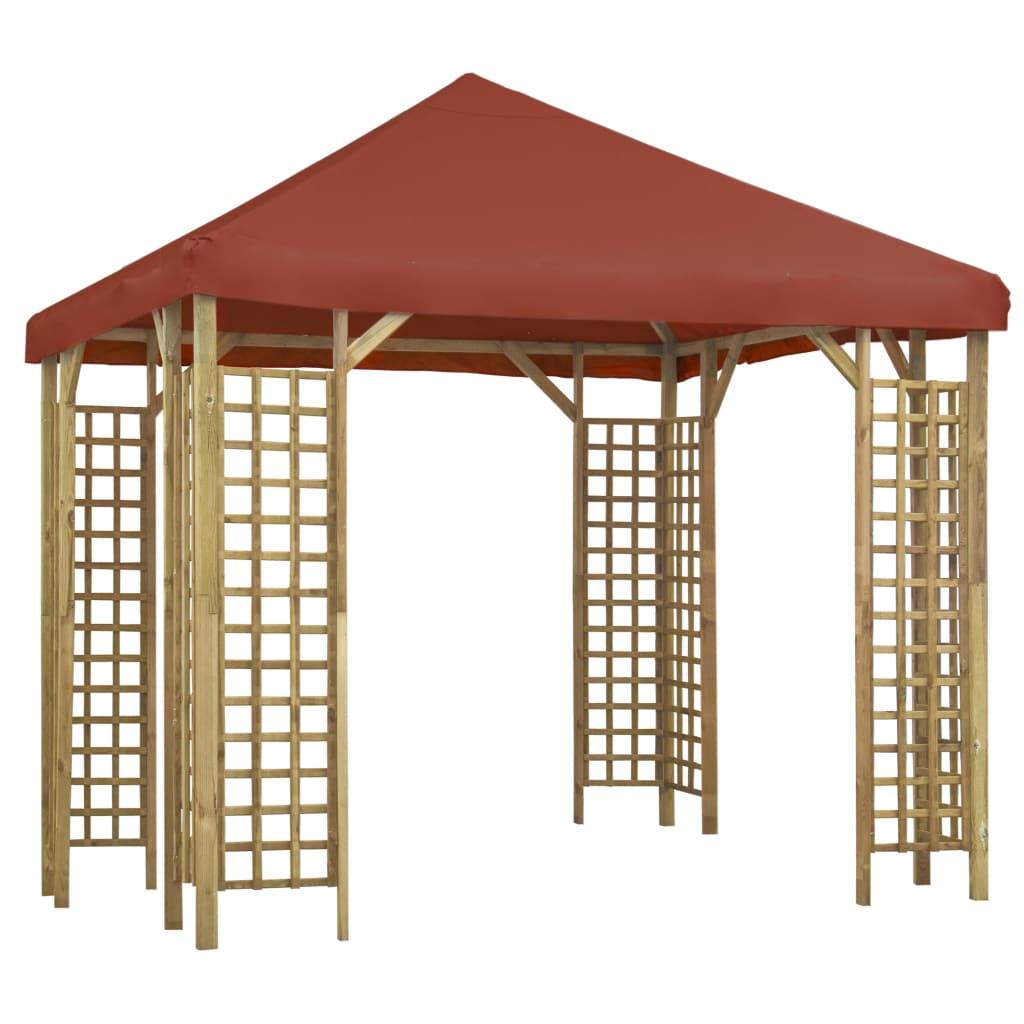 vidaXL Pavilion, cărămiziu, 3 x 3 m (310032 + 46622) vidaxl.ro