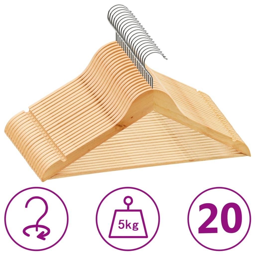 vidaXL Set de umerașe anti-alunecare, 20 buc., lemn esență tare poza 2021 vidaXL