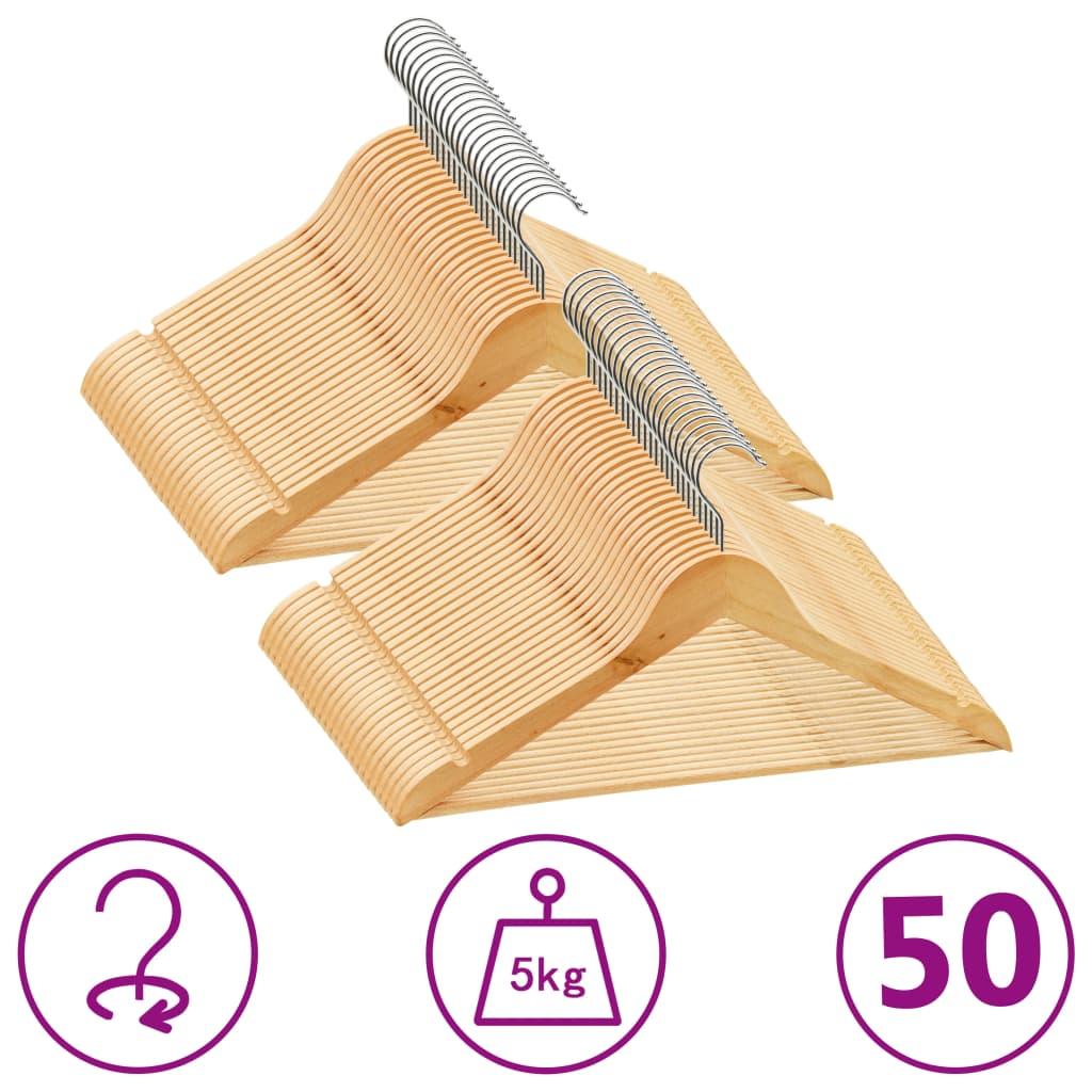 vidaXL Set de umerașe anti-alunecare, 50 buc. lemn esență tare poza 2021 vidaXL