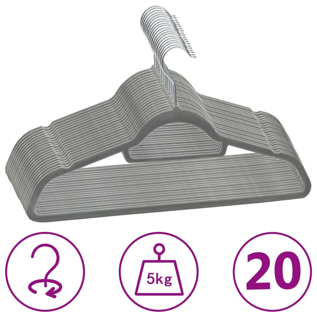vidaXL Set de umerașe anti-alunecare, 20 buc., gri, catifea poza 2021 vidaXL