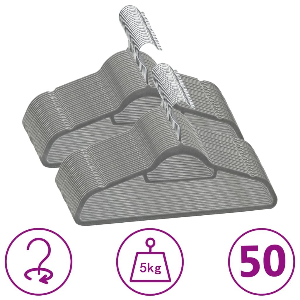 50 ks šatních ramínek protiskluzové šedé samet