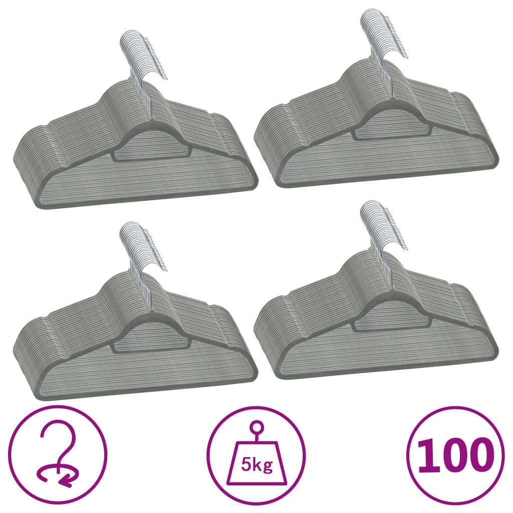 100 ks šatních ramínek protiskluzové šedé samet