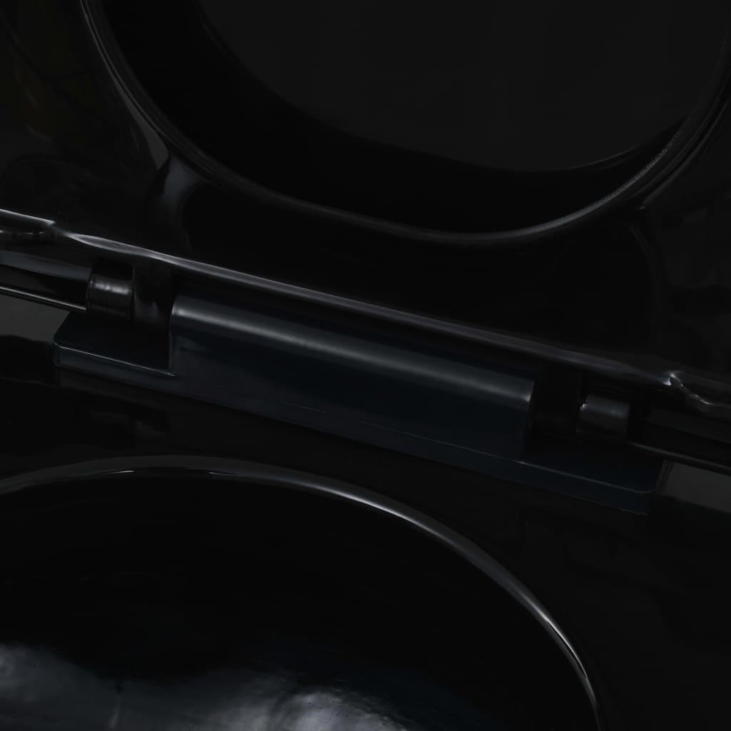 vidaXL Hangend toilet met verborgen stortbak keramiek zwart