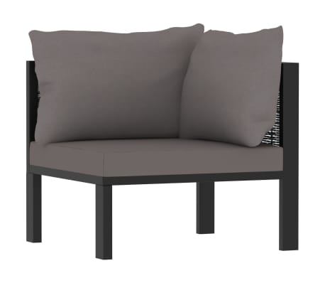 vidaXL Sectional Corner Sofa with Left Armrest Poly Rattan Anthracite