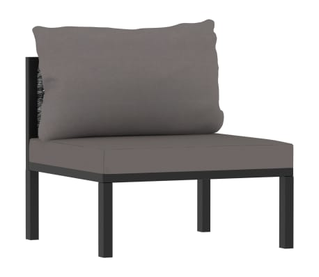 vidaXL Sectional Middle Sofa with Cushion Poly Rattan Anthracite
