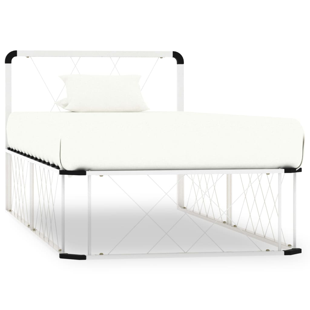 Rám postele bílý kov 100 x 200 cm