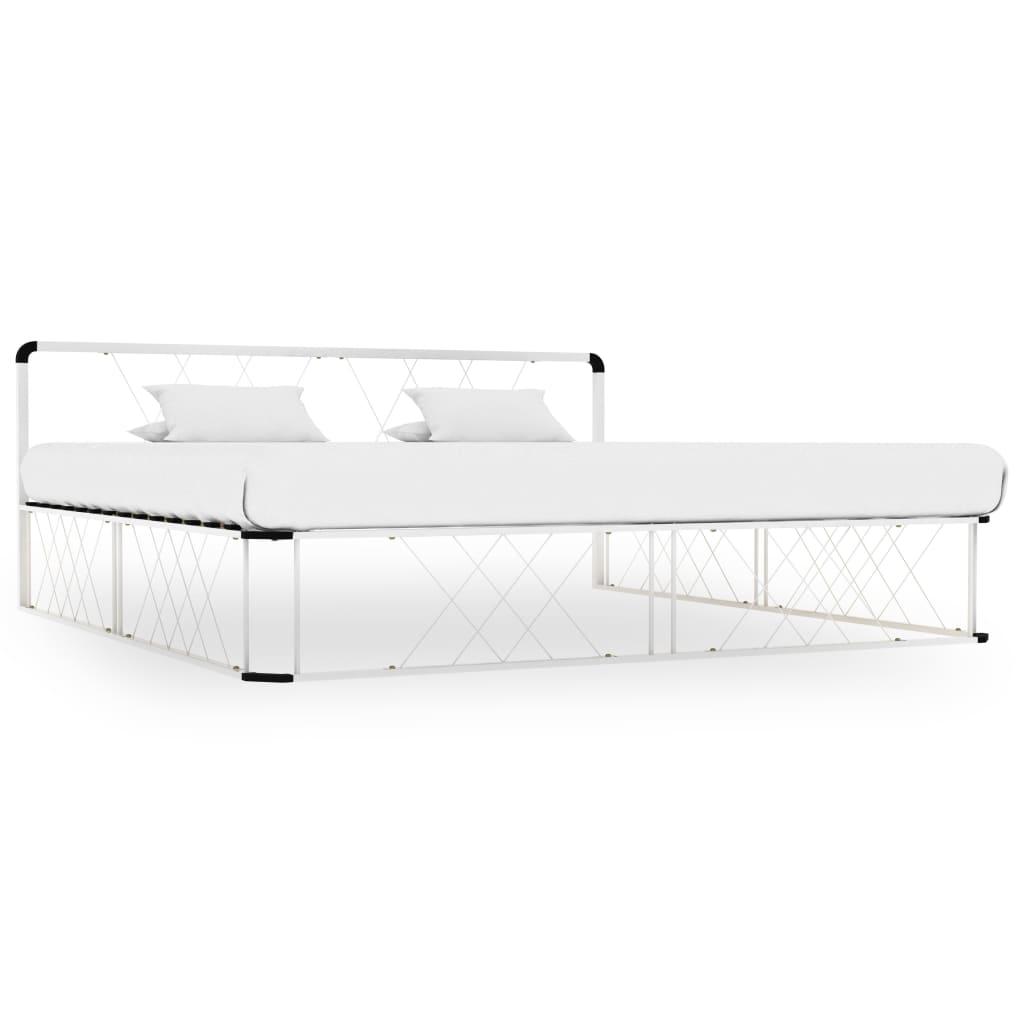 vidaXL Cadru de pat, alb, 180 x 200 cm, metal poza 2021 vidaXL