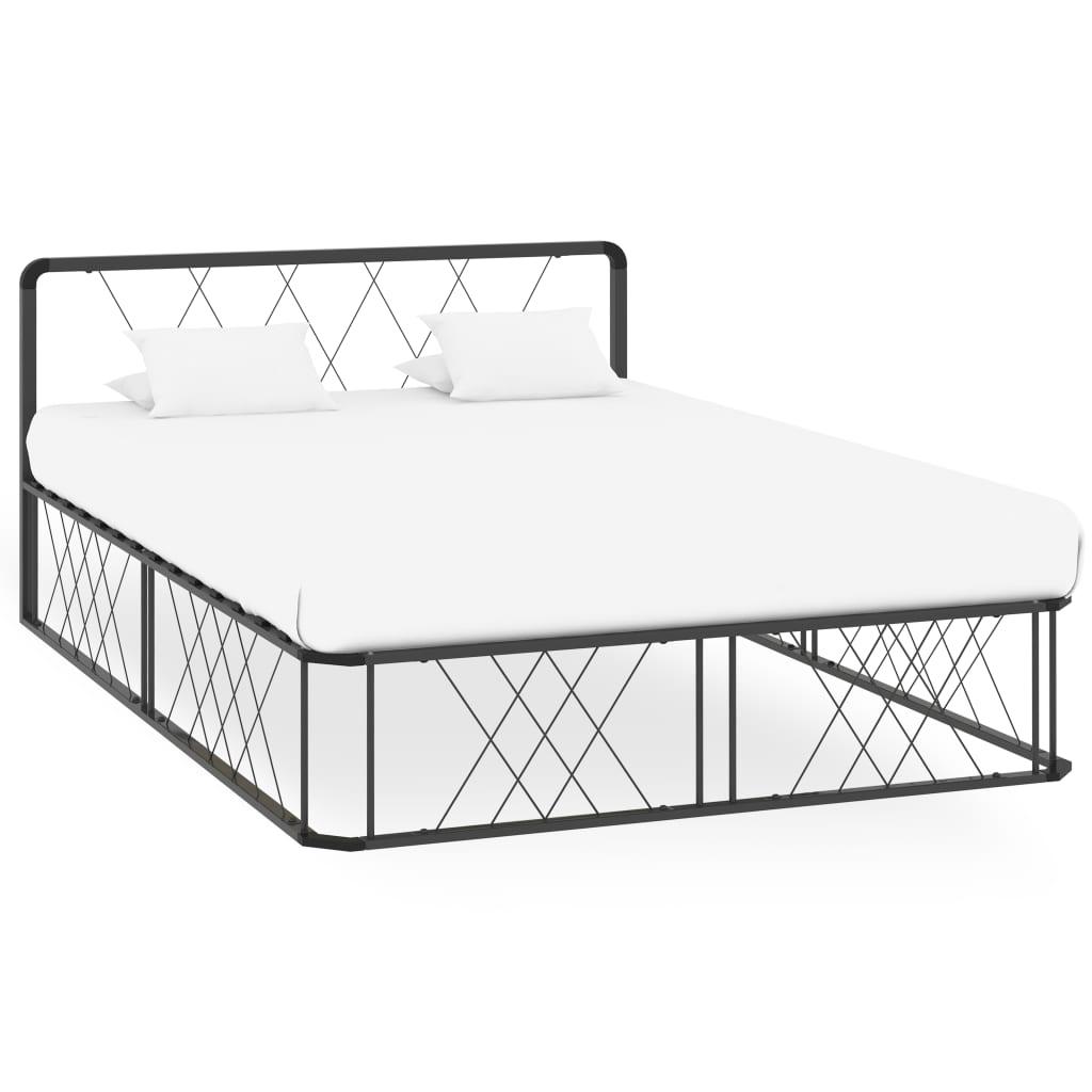 vidaXL Cadru de pat, gri, 140 x 200 cm, metal imagine vidaxl.ro