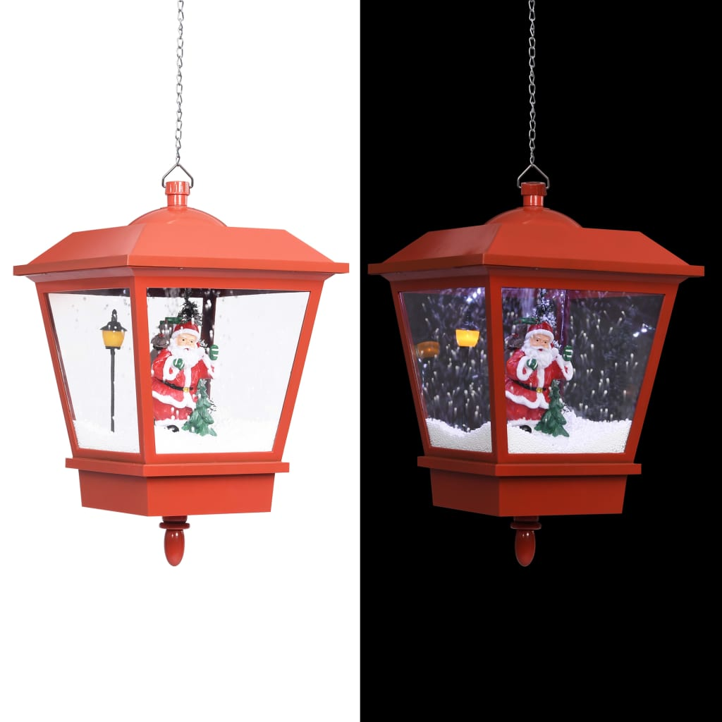 vidaXL Felinar suspendat cu LED și Moș Crăciun, roșu, 27x27x45 cm vidaxl.ro