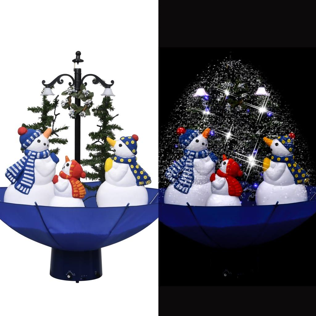 vidaXL Brad de Crăciun cu ninsoare și bază umbrelă albastru 75 cm PVC vidaxl.ro