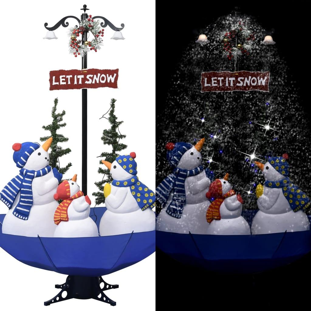 vidaXL Brad de Crăciun cu ninsoare și bază umbrelă albastru 170 cm PVC imagine vidaxl.ro