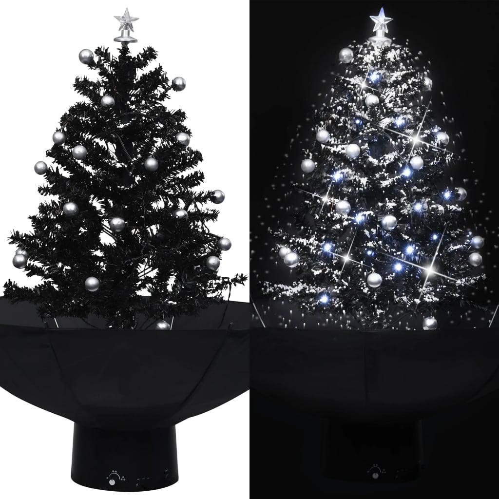 vidaXL Brad de Crăciun cu ninsoare și bază umbrelă, negru, 75 cm, PVC vidaxl.ro