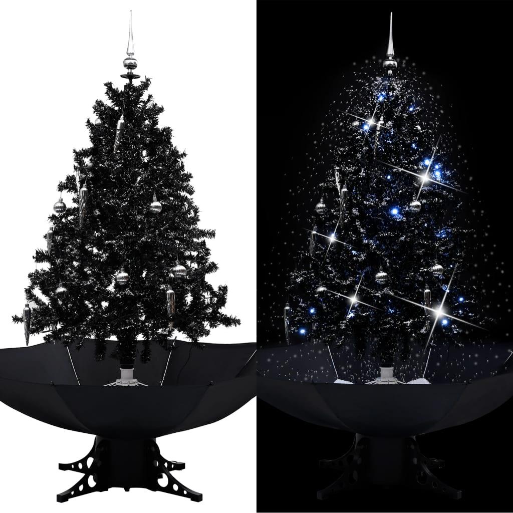 vidaXL Brad de Crăciun cu ninsoare și bază umbrelă, negru, 140 cm, PVC poza vidaxl.ro