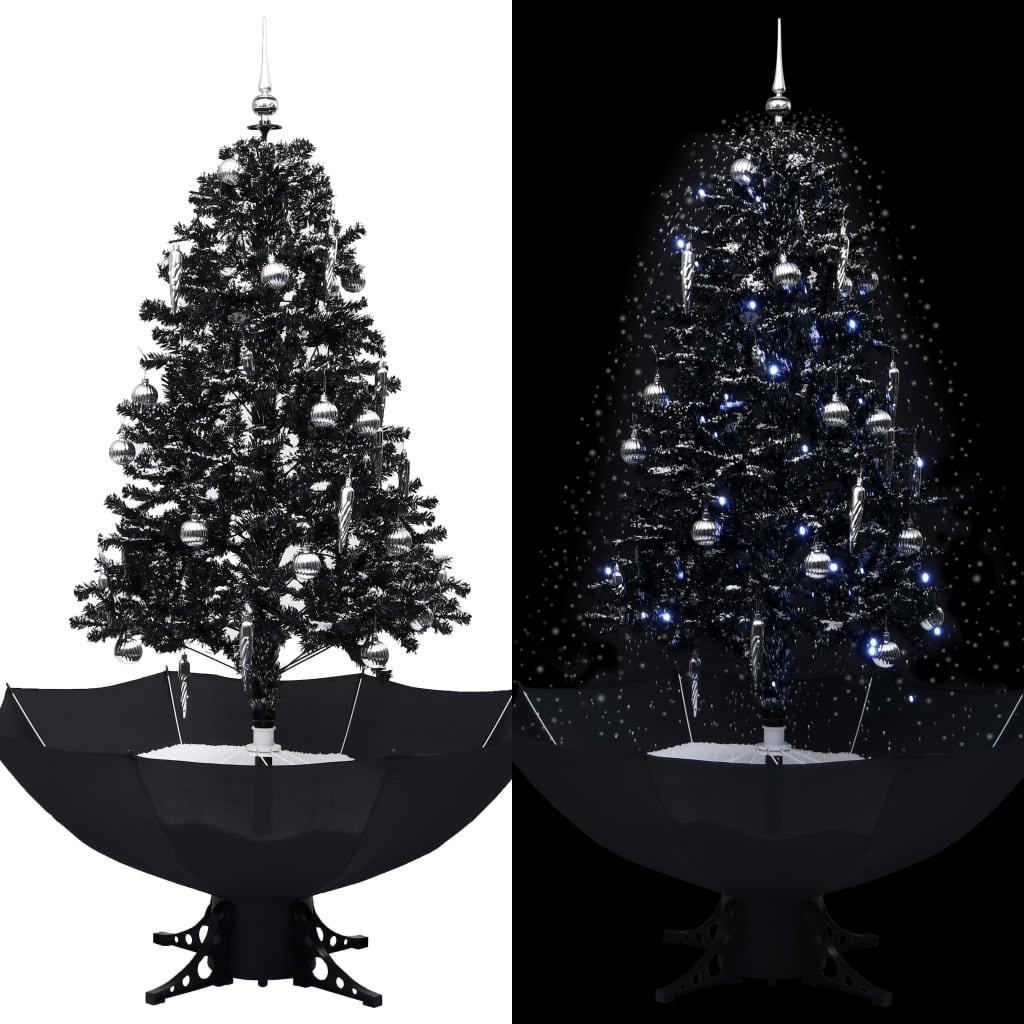 vidaXL Brad de Crăciun cu ninsoare și bază umbrelă, negru, 170 cm, PVC imagine vidaxl.ro