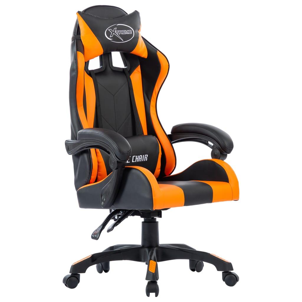 vidaXL Scaun de racing, portocaliu, piele ecologică vidaxl.ro