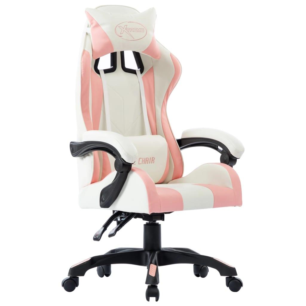 vidaXL Scaun de racing, roz, piele ecologică imagine vidaxl.ro