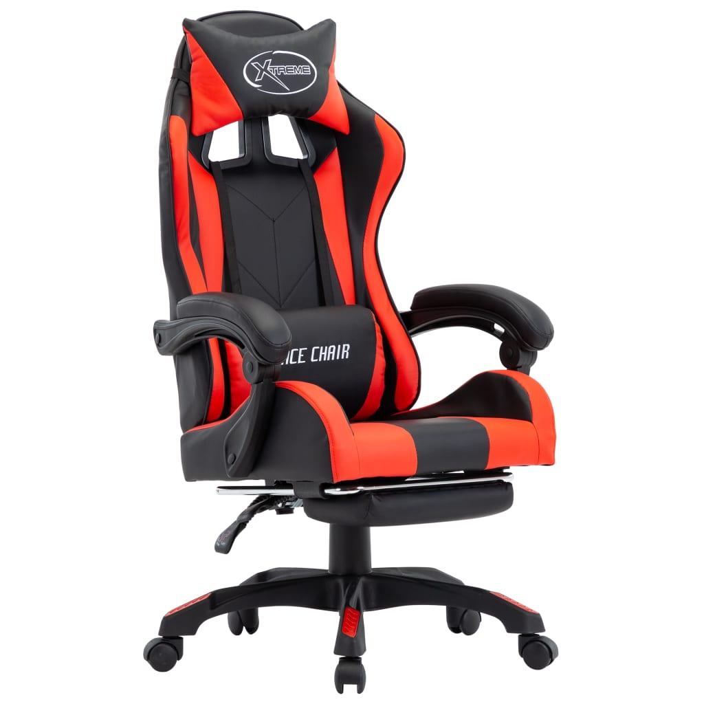 vidaXL Scaun de racing suport picioare, roșu și negru, piele ecologică vidaxl.ro