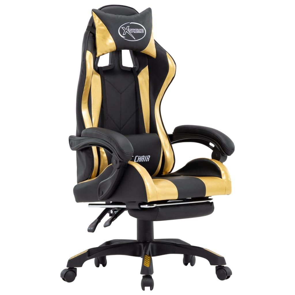 vidaXL Scaun de racing suport picioare auriu/negru piele ecologică vidaxl.ro