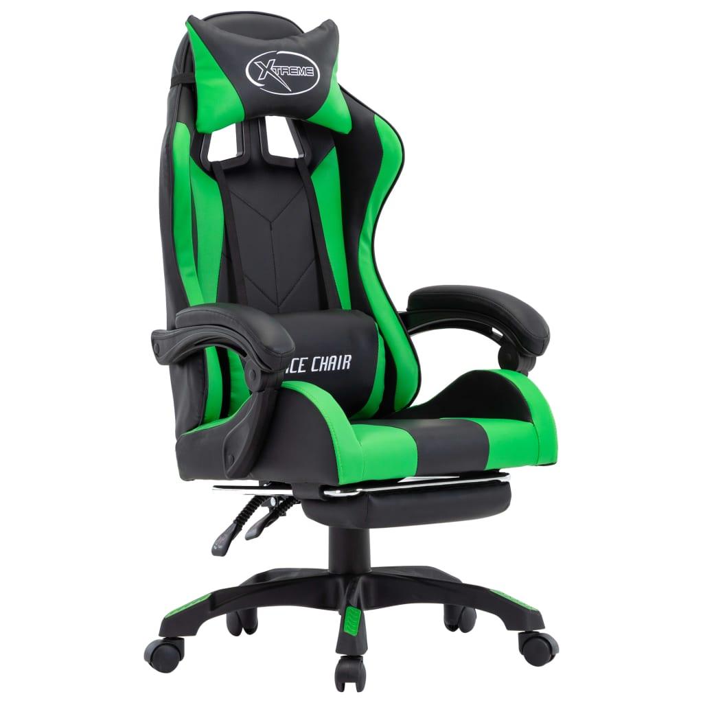 99287989 Gaming-Stuhl mit Fußstütze Grün und Schwarz Kunstleder