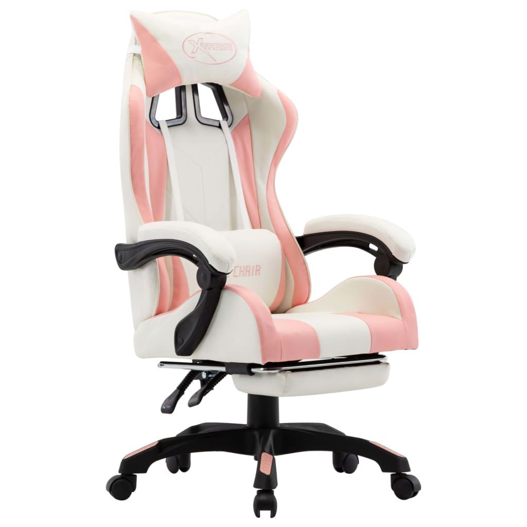 vidaXL Scaun de racing cu suport picioare, roz și alb, piele ecologică poza 2021 vidaXL