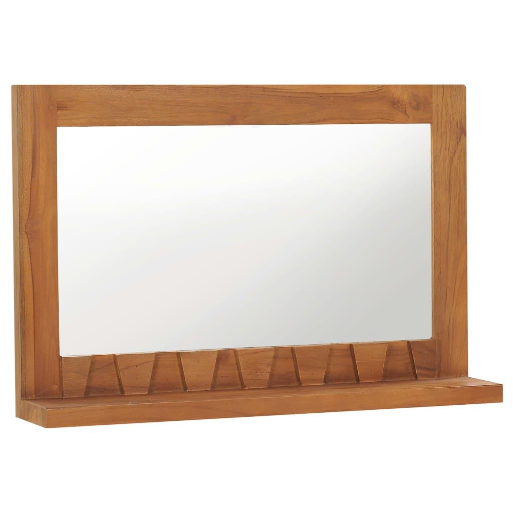 vidaXL Oglindă de perete cu raft, 60x12x40 cm, lemn masiv de tec poza vidaxl.ro