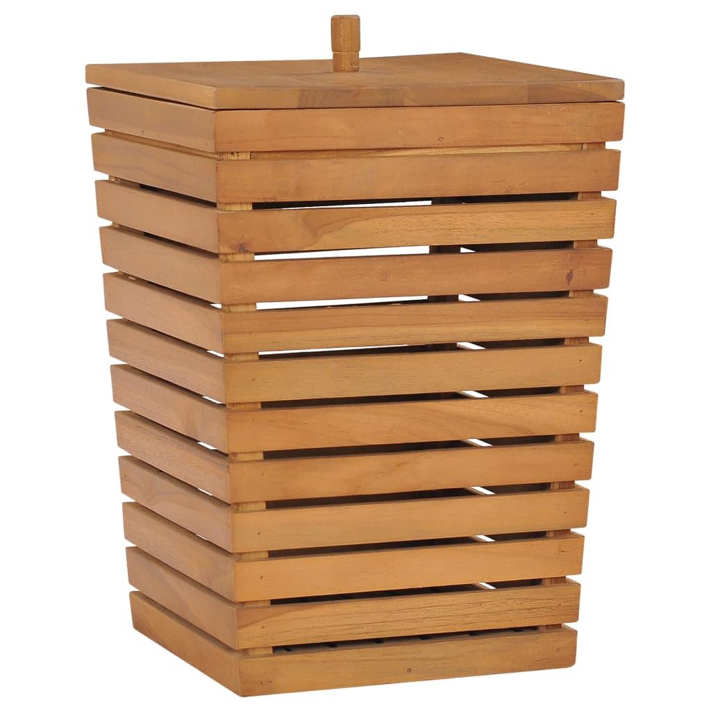 vidaXL Coș de rufe, 30 x 30 x 45 cm, lemn masiv de tec imagine vidaxl.ro
