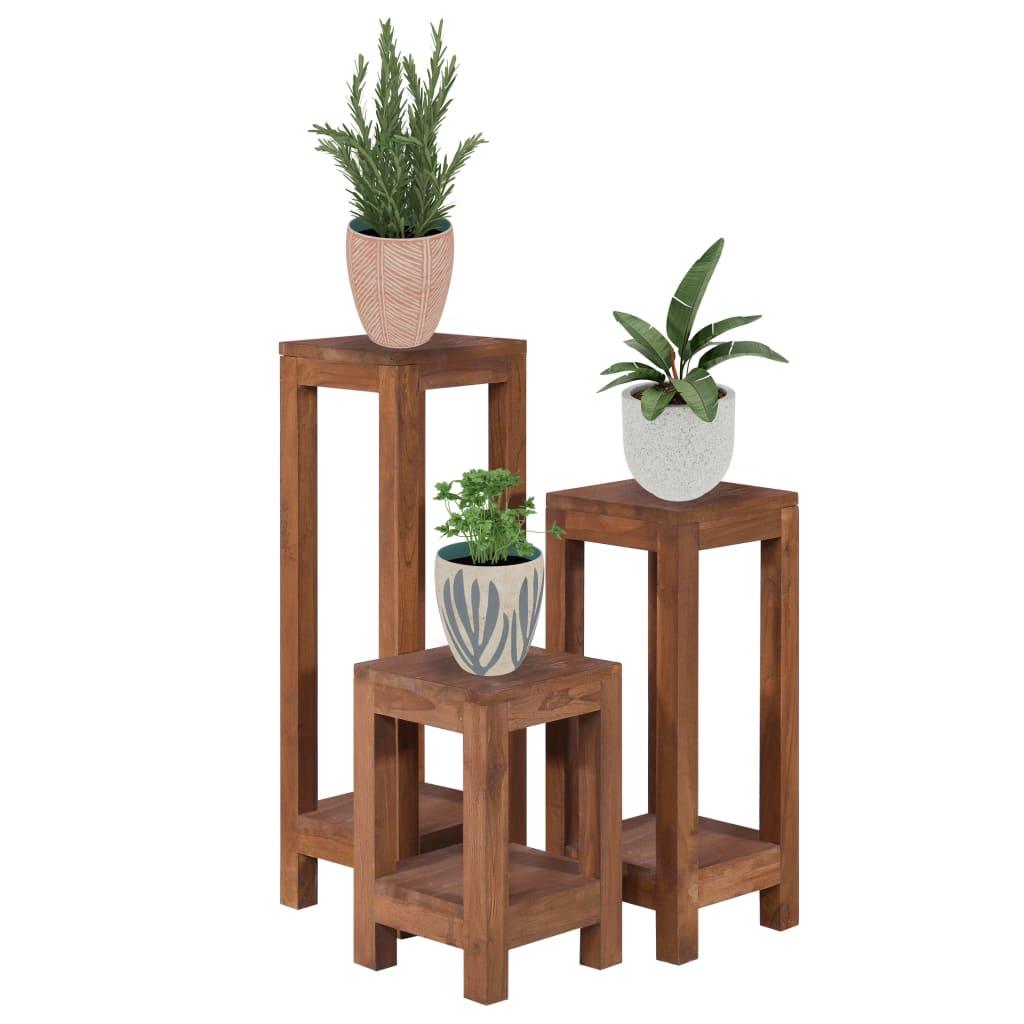 vidaXL Suporturi de plante, 3 piese, lemn masiv de tec poza 2021 vidaXL