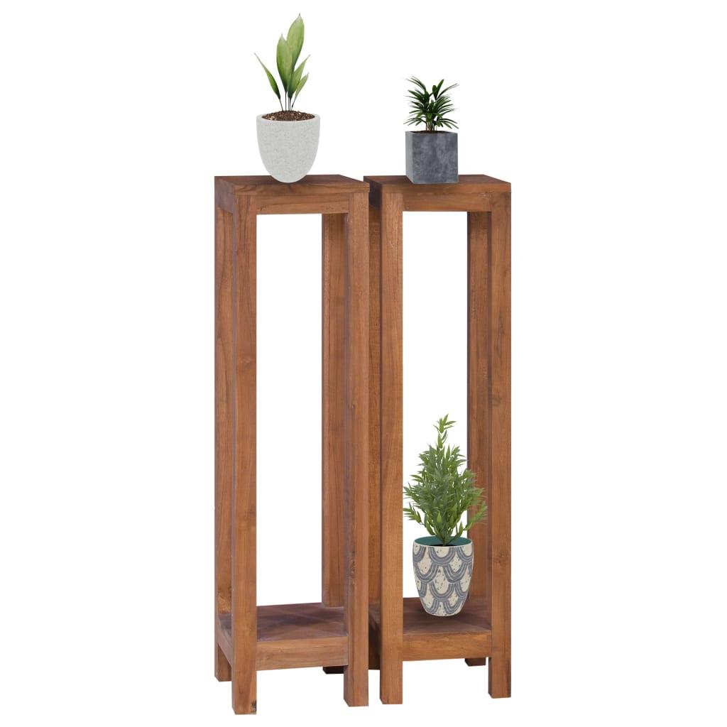 vidaXL Suporturi de plante, 2 piese, 25x25x100 cm, lemn masiv de tec poza 2021 vidaXL