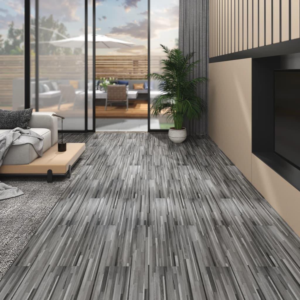 Podlahová krytina PVC 5,02 m² 2 mm samolepicí pruhovaná šedá
