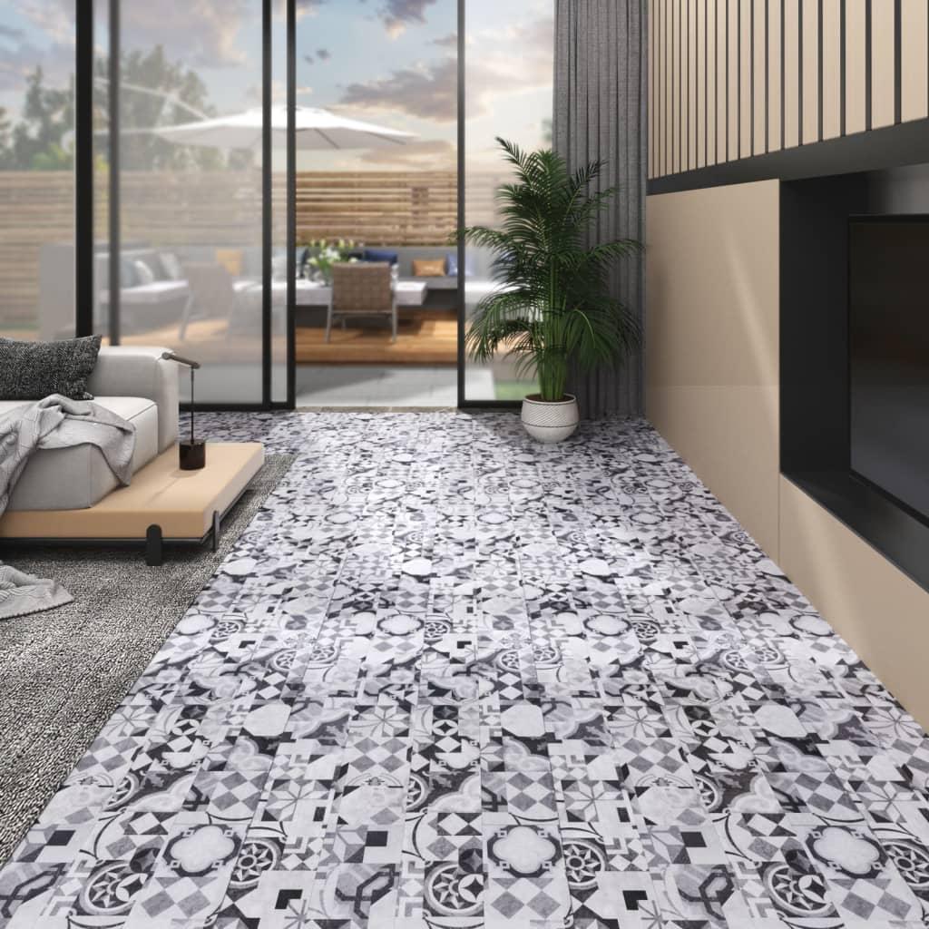 Vloerplanken zelfklevend 4,46 m² 3 mm PVC grijs patroon