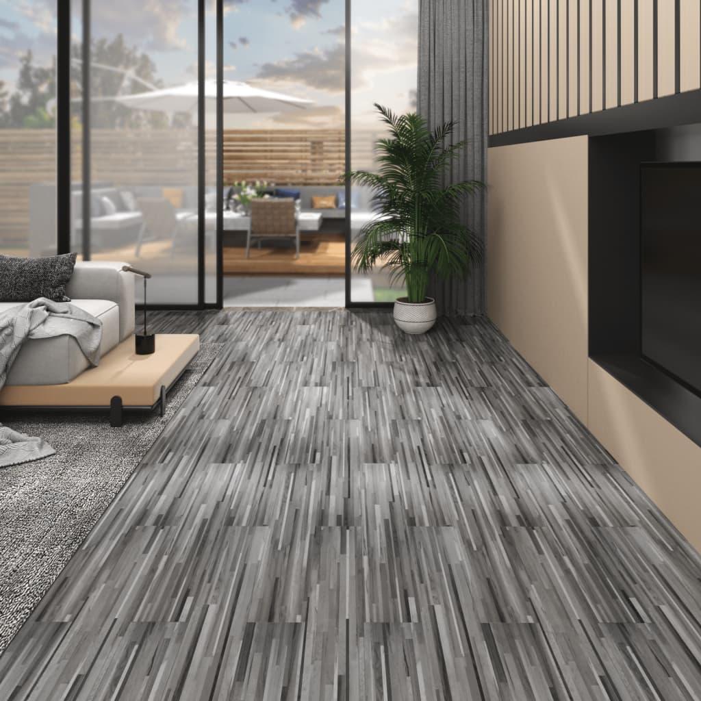 vidaXL Plăci de pardoseală, gri cu dungi, 4,46 m², PVC, 3 mm poza 2021 vidaXL