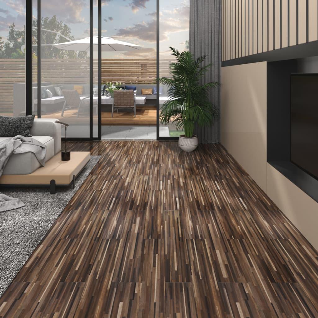 Vloerplanken 5,26 m² 2 mm PVC gestreept bruin