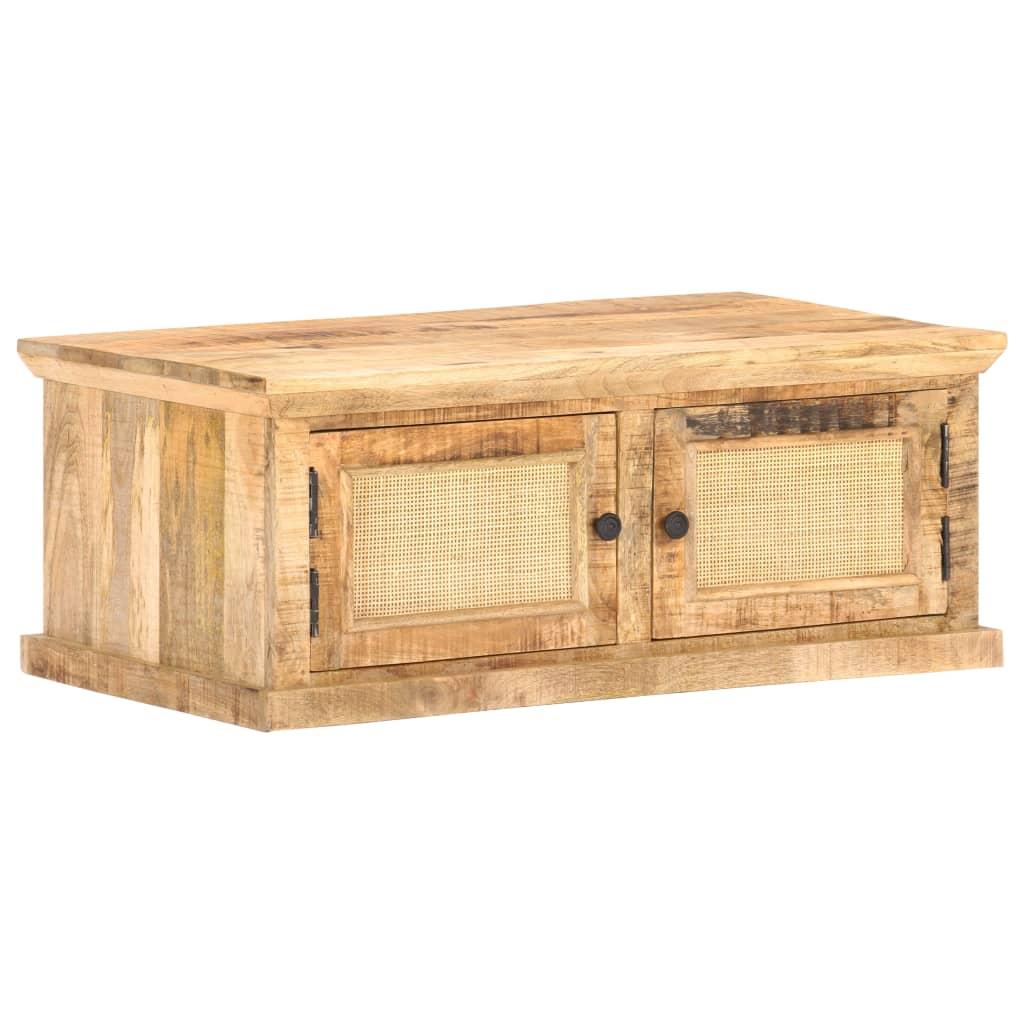 vidaXL Table basse 90x50x35 cm Bois de manguier et canne naturelle