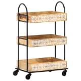 vidaXL 3-Tier Kitchen Trolley 46x30x76 cm Solid Mango Wood